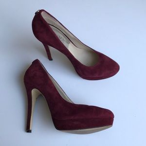 MICHAEL KORS burgundy suede pumps 7.5